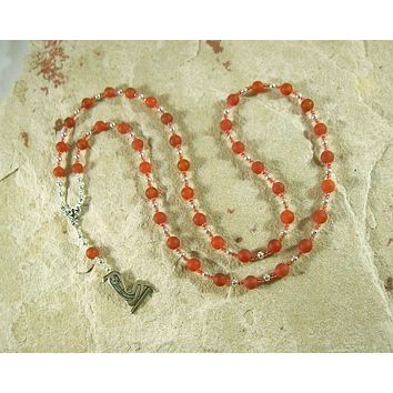 Wadjet Prayer Bead Necklace in Carnelian: Egyptian Cobra Goddess, Patron and Protector of Lower Egypt