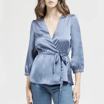 satin dream top - french blue