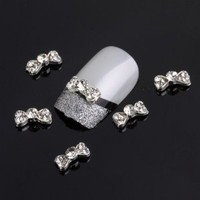 Yesurprise Silver Bow Tie 10 pieces Silver 3D Alloy Nail Art Slices Glitters DIY Decorations