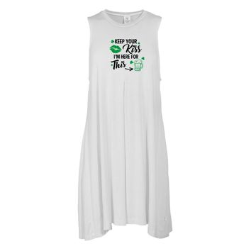 Keep Your Kiss... St. Patrick's Day Tee - STPATS07 Women's Sleeveless Spandex Pleat Dress