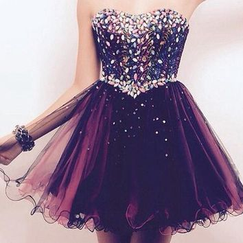 Beadings Homecoming Dress, Strapless Sweetheart Homecoming Dress Free Fast Shipping