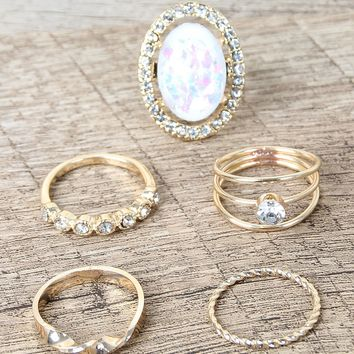 Rhinestone Halo Oval Opal Ring Set