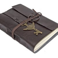Dark Brown Faux Leather Journal with Winged Clock Key Bookmark