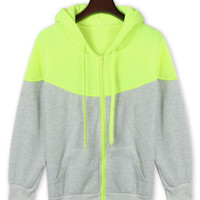 Color Block Zip Front Drawstring Hoodie