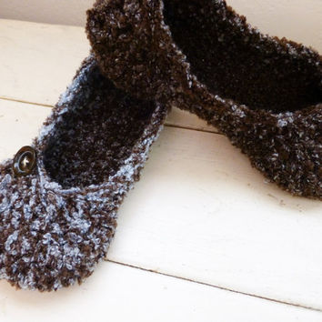 Crochet slippers, house slippers, women's slippers, ballet slippers, crochet slippers brown, women's accessories, ready to ship, handmade