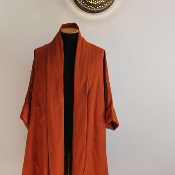 Original Romeo Gigli vintage women's cotton blend cape coat from 80s