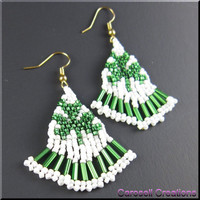 St Patty's Holiday Beadwork Seed Bead Earrings Luck of the Irish Clover