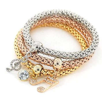 3pcs/lot Heart Charm Bracelets Bangle Women Girl Crystal Jewelry Elastic Bracelets 3 Colors Cute Multilayer Pulseira Masculina