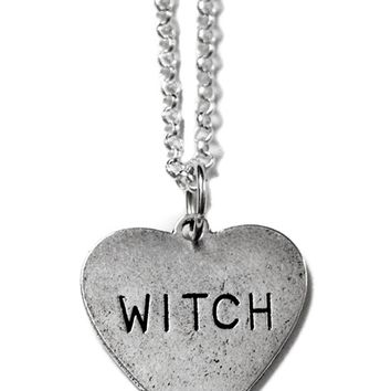"""Witch Heart"" Necklace by Couture By Lolita (Silver)"