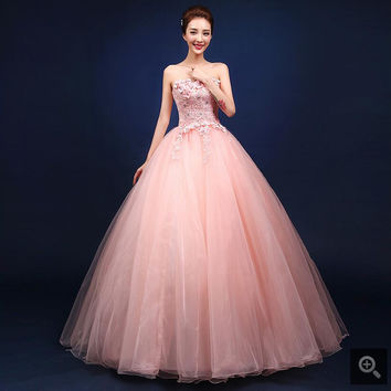 2017 fashion new ball gown pink lace appliques flower prom dress strapless sweetheart neck elegant beaded corset prom gowns