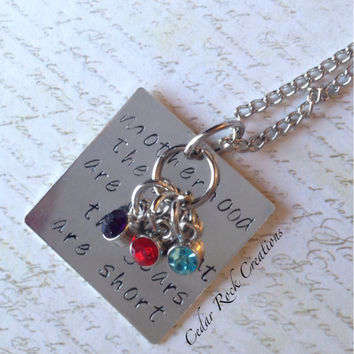Motherhood Necklace, Birthstone Jewelry, Quote Jewelry, Uplifting and Inspirational Jewelry