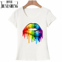2017 New women Summer Tops Tees Sexy color Lips Painted t shirt cotton Short Sleeve brand fashion round neck tshirt HH240