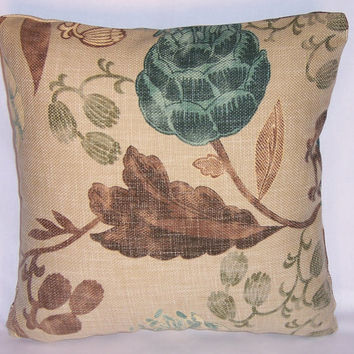 "Teal Tan Brown Fantasy Floral Throw Pillow  Richloom Chandler Ready to Ship 17"" Square Cotton Basketweave Insert and Cover"