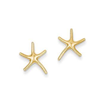13mm Polished Pencil Starfish Post Earrings in 14k Yellow Gold