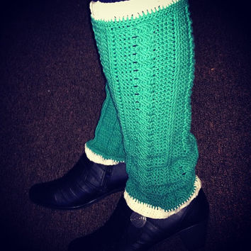 CUSTOM Handmade Crochet Emerald Lace Statement Legwarmers - Women's Handmade Lacy Accessories