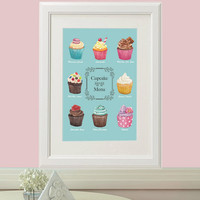 Cupcake Poster. A4 (8x10 in) Art Print. Watercolor Painting. Food Art. Kitchen, nursery, home wall decor. Gift idea. Baking. Bakery print.