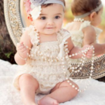 White Lace Baby Romper - CPD001W
