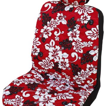 Red Monstera's Shadow Hawaiian Separate Headrest Car Seat Cover