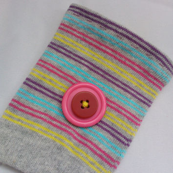 Stripey Coffee Cosy | Coffee sleeve fabric | Colourful cup cozy | Slip on cosy | Reusable coffee sleeve | Sweet button cozy | Coffee sock