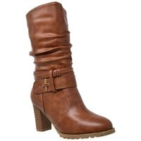 Women's Mid Calf Boots Stacked Block Heels Brown