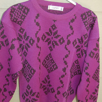 Vintage 80s Esprit Purple Magenta Black Tribal Cowichan Pullover Sweater Size Large