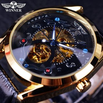 Winner Luxury Gold Watch Mens Watches Top Brand Luxury Full Steel Man Clock Skeleton Mechanical Watch Golden Automatic Watch