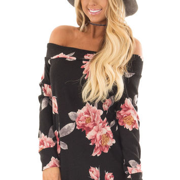 Black Floral Off the Shoulder Sweater