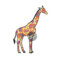 Yellow Giraffe Car Decal - Colorful Design Paisley Bumper Sticker Laptop Decal Pink Green Teal Yellow Cute Car Decal Animal Art