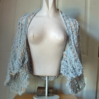 Openwork lacy shrug kimono sleeves fits most medium large extra large women in grey and wheat