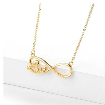 Daisies New Couple Infinity Love Letter Pendant Necklace Infinity Sign Choker Necklace Statement Jewelry for Women Gifts