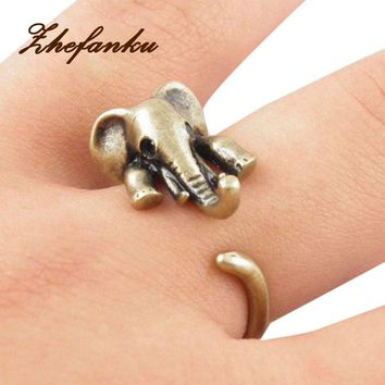 Adjustable 3D Open Animal Wrap Rings Elephant  Unique Trendy Retro Vintage  Chic Mid Finger Ring Jewelry Drop Shipping