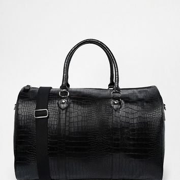 ASOS Smart Carryall In Black Faux Leather With Crocodile Effect at asos.com