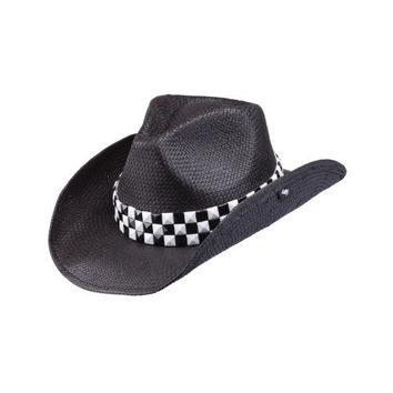 New Peter Grimm Speed Black White Checkered Racing Flag Drifter Cowboy Hat