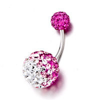 April And Rose Birthstone Shining Ball Belly Navel Rings, Belly Rings, New Year Belly Rings | Pugster.com