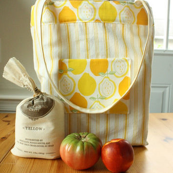 Large Grocery Bag Market Tote Bag Reusable Recycled by goodmarvin