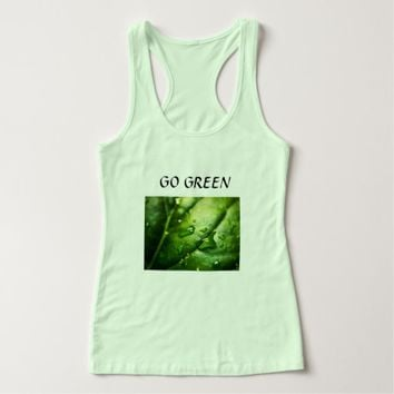 go green- with picture of leaf tank top