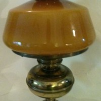 Vintage Brass Gone With The Wind Hurricane Lamp Amber Cased Glass Shade