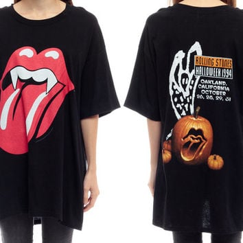 ROLLING STONES Shirt 90s Band Tee VAMPIRE Lips Halloween Voodoo Lounge Tshirt Dress Rock N Roll World Tour Vintage 1990s Black Medium Large