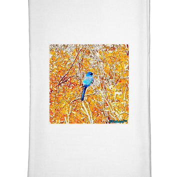 Blue Bird in Yellow Watercolor Flour Sack Dish Towels