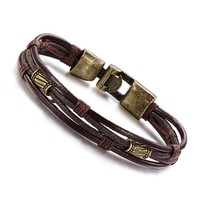 New Fashion Men Jewelry Bracelet Mens Fashions Leather Zinc Alloy Jewelrys Mans Retro Of People