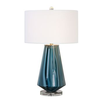 Pescara Teal Gray Glass Table Lamp by Uttermost