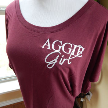 Aggie Girl Short Sleeve Maroon Dolman Top - Large - Ready to Ship