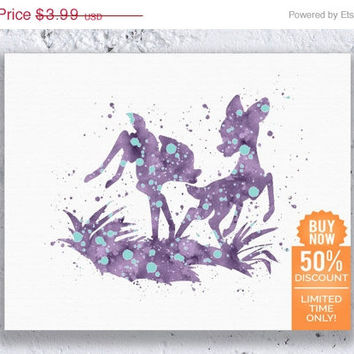 Bambi and Faline Print Disney Print Bambi Friends Bambi Art Watercolor Printable Art Disney Nursery Disney Poster Digital Download Art