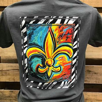 Southern Chics Apparel Watercolor Fleur De Lis Girlie Bright T Shirt