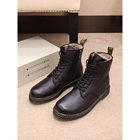 Dr.Martin  Trending Men Women's Black Leather Side Zip Lace-up Ankle Boots Shoes High Boots