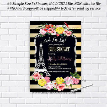 oh lala, Paris Eiffel Tower Invite, girl baby shower,Paris Baby Shower Invitation, Eiffel Tower Invite, Paris Shower Invitation - card 924