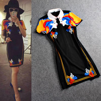 Lapel Collar Digital Printed Short Sleeve Mini A-Line Dress