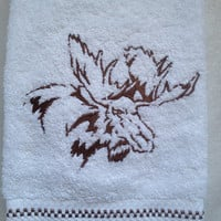 Moose Head Embroidered on Cotton Bath Hand Towel