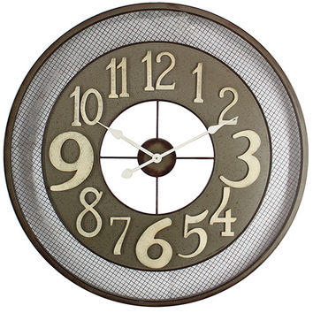 Yosemite Home Decor CLKB2A159 Dark Grey, Beige and White Iron Wall Clock