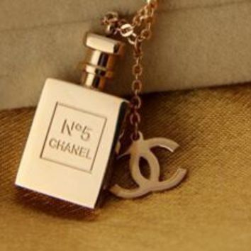 Chanel Trending Woman Personality Rose Golden Delicate Perfume Bottles Logo Necklace I11994-1